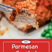 Graphic for Pinterest of parmesan crusted chicken breasts