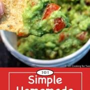 graphic for Pinterest of homemade guacamole