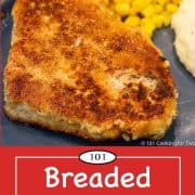 Graphic for Pinterest of breaded pork chops