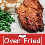 graphic for Pinterest of Oven Fried Chicken